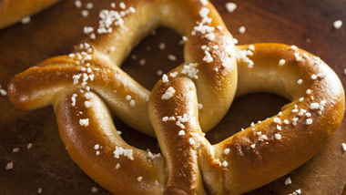 Giant soft pretzel from Trackside.