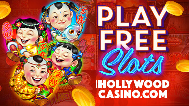 """Play Free Slots Online, HollywoodCasino.com"" to the right of images of small children and slot coins."