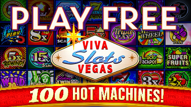 """Play Free, Viva Slots Vegas, 100 Hot Machines"" on top of images of slot machine icons."