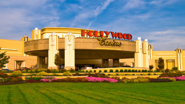 An outside view of Hollywood Casino at Penn National Race Course in Grantville, Pa.