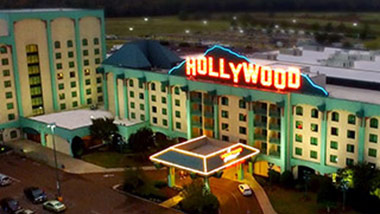 An aerial view of the Hollywood Casino and hotel in Tunica, Mississippi.
