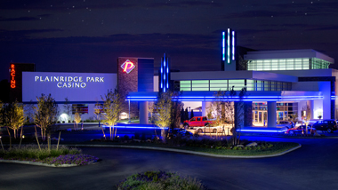 A nighttime view of the entrance to Plainridge Park Casino in Massachusetts.