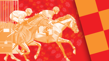 Line graphic of jockeys on race horses on a red and orange background.