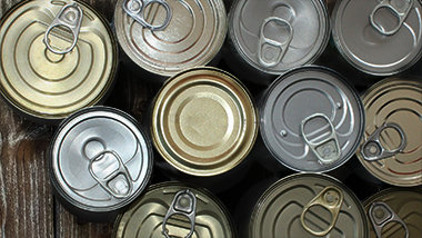 Canned goods on a wooden table