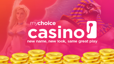"coins stacked over an Egyptian character and female character from games with mychoice casino logo and text: ""new name, new look, same great play"""