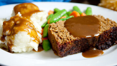 Meatloaf with gravy and mashed potatoes